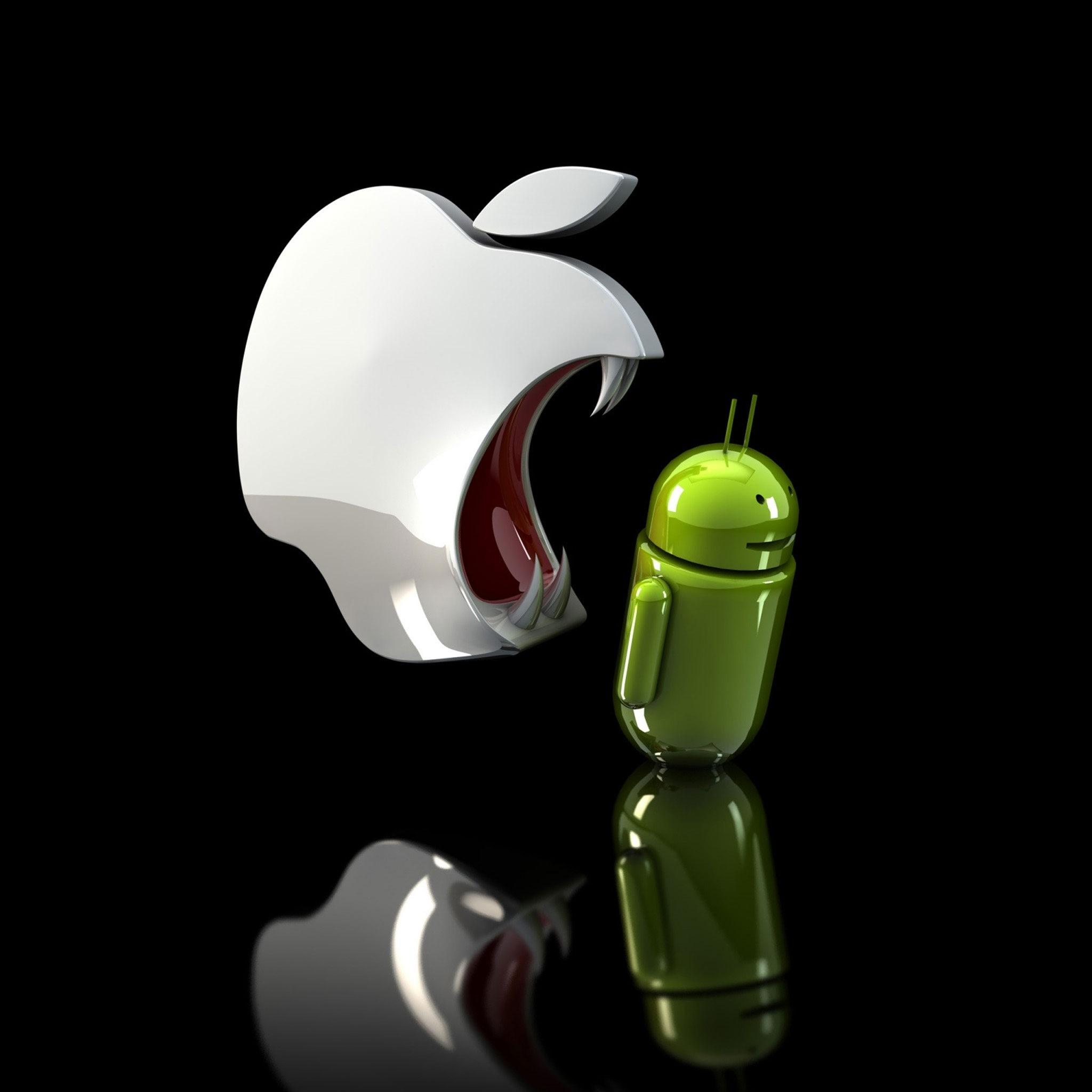 Funny Apple and Android Logo Wallpaper