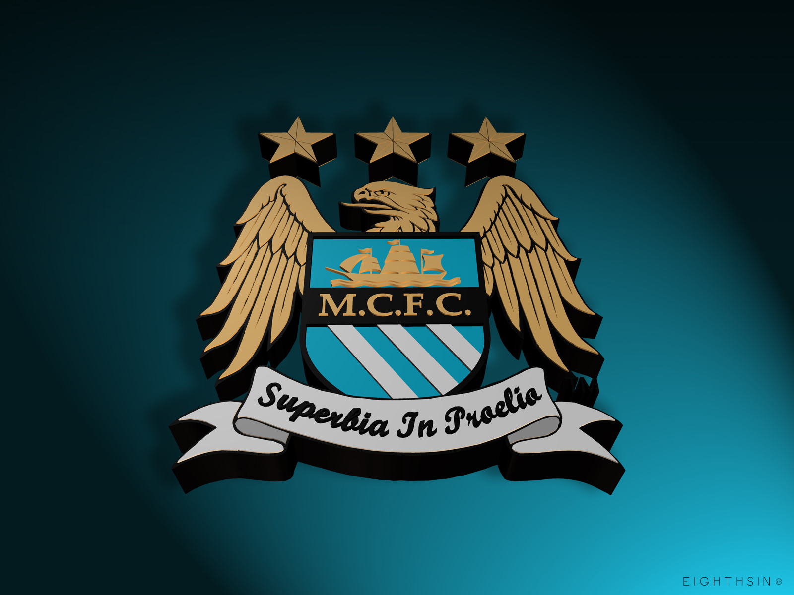 Manchester City FC Logo 3D Wallpaper