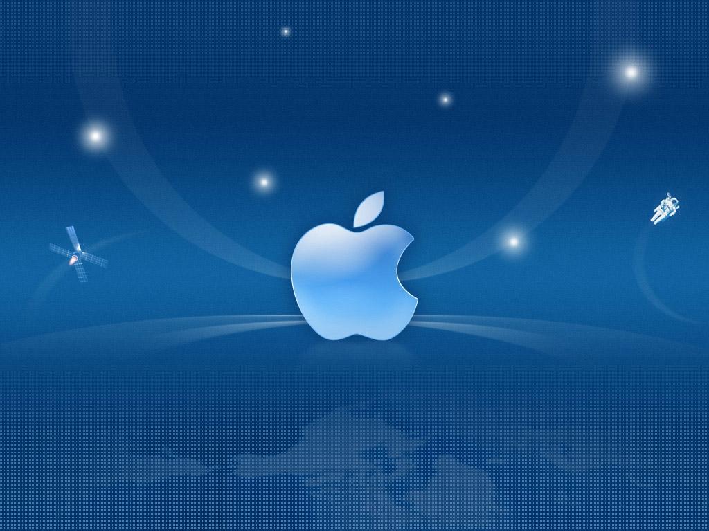Blue Apple logo Wallpaper