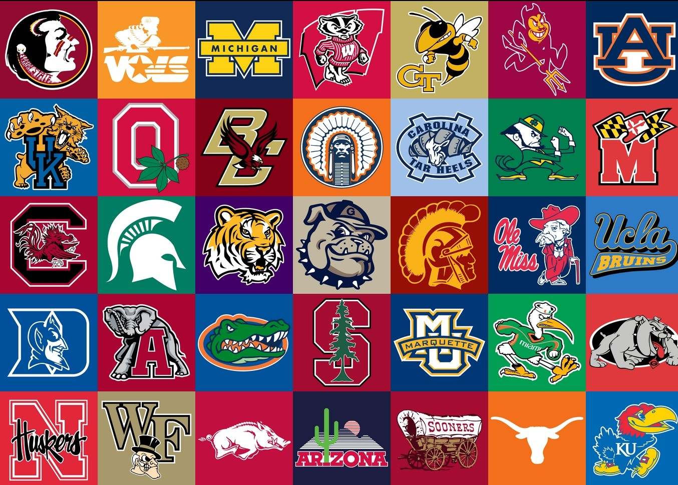 College football logos Wallpaper
